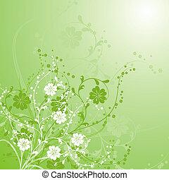 vektor, bakgrund, blommig