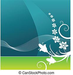 vektor, bakgrund, grunge, blommig