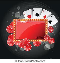vektor, bakgrund, kasino