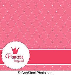 vektor, bakgrund, krona, prinsessa, illustration.