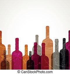 vektor, bakgrund, vin