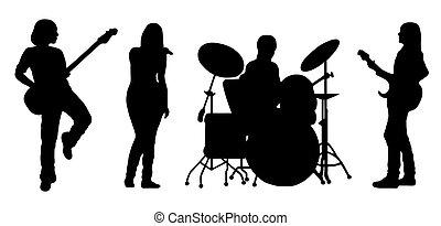 vektor, band, sjungande