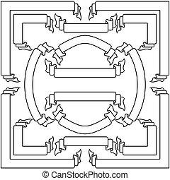vektor, baner, sätta, vit, remsor, illustration