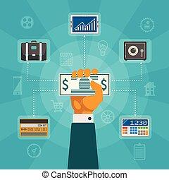 vektor, bankwesen, begriff, online