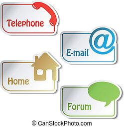 vektor, banner, -, telefon, e-mail, daheim, forum