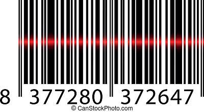 vektor, barcode, mit, laserstrahl