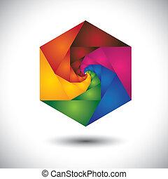 vektor, barna, grafikus, rózsaszínű, színes, háttér., elvont, tartalmaz, -, spirál, szeret, narancs, befest, sárga, zöld, hatszög, végtelen, lépések, piros, kék