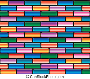 vektor, barvitý, cihlový stěna