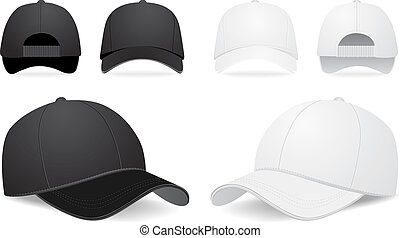 vektor, baseball cap, sæt