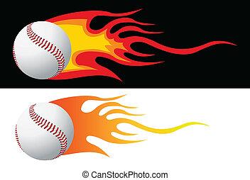 vektor, baseball, flammor