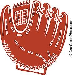 vektor, baseballhandske, ikon