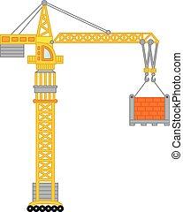 vektor, baugewerbe, crane.