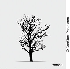 vektor, baum, illustration., silhouette.