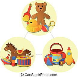vektor, begreb, childrens, illustration, cartoon, stykke legetøj, icon., style.