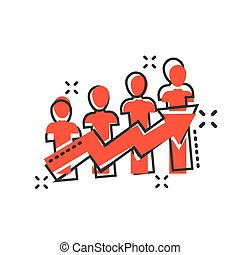 vektor, begreb, folk branche, effect., komisk, isoleret, illustration, style., karriere, plaske, baggrund., pil, optræden, hvid, cartoon, ikon