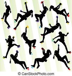 vektor, begreb, mur, sæt, baggrund, klatr rokk, pige