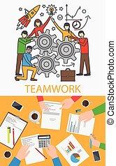 vektor, begreb, teamwork