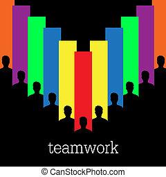 vektor, begreb, teamwork, farverig
