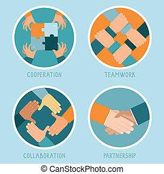 vektor, begreb, teamwork, samarbejde