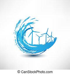 vektor, begreb, turbiner, vind