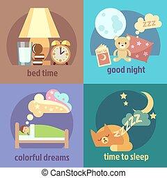 vektor, begrepp, bakgrunder, sätta, sömn tajma