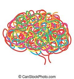 vektor, begrepp, hjärna, mänsklig