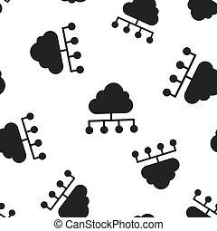 vektor, begrepp, illustration., affär, beräkning, mönster, symbol, pattern., seamless, analytics, infographic, bakgrund., ikon, teknologi, moln, nätverk