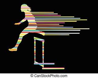 vektor, begriff, spur, athlet, feld, frau, hintergrund, hürdenlauf