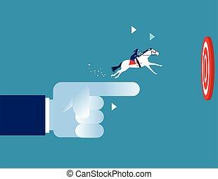 vektor, begriff, zeigen, gehen, success., illustration., pferd fahrt, geschaeftswelt, hand, target., geschäftsfrau