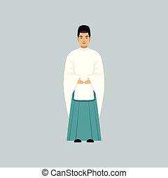 vektor, beismerés, ábra, hagyományos, lelkész, shinto, öltözet, hím, vallásos, jellegzetes