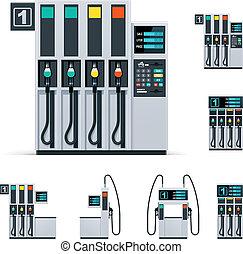 vektor, bensinstation, sätta, pumpar