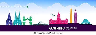 vektor, bestimmungsort, großartig, argentinien, reise,...