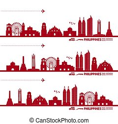 vektor, bestimmungsort, reise, illustration., philippinen, ...