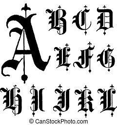 vektor, betűtípus, gót, középkori, a-l