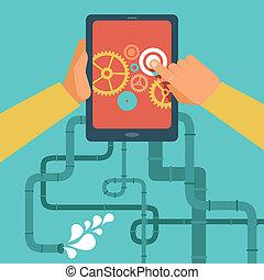 vektor, beweglich, app, entwicklung, begriff