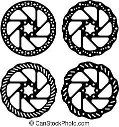 vektor, bicikli, fékez, korong, fekete, árnykép
