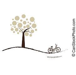 vektor, bicikli, illustration., elvont, fa., háttér, alatt