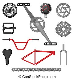 vektor, bicikli, terep-, alkatrészek, bicikli, állhatatos, sport, bmx