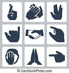 vektor, bifald, hilsenen, håndslag, shaka, iconerne, facepalm, kors, namaste, vulcan, hænder, størrelse, fingre, pegepind, set: