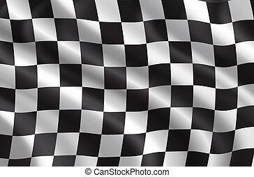 vektor, bil, flagga, löpningen, samla, eller