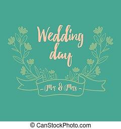 vektor, bild, frau, herr, wedding