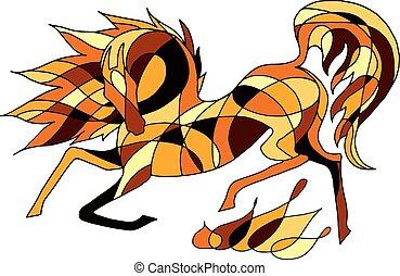 vektor, bild, von, feurig, pferd