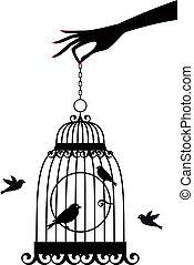 vektor, birdcage, hånd