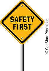 vektor, biztonság első, aláír