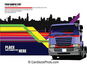 vektor, blå, lastbil, illustration