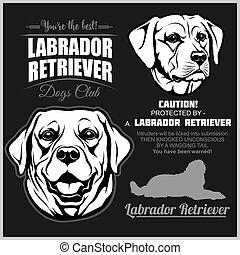 vektor, black., -, retriever, hund, labrador, sæt