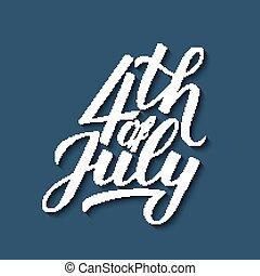 vektor, blaues, gruß, bearbeiten, beschriftung, usw., hintergrund., banner, design, logo, leicht, schablone, plakat, 4., illustration., flieger, kalligraphie, juli, tag, feier, hand, usa, karte, unabhängigkeit