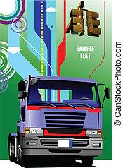 vektor, blaues, lastwagen, abbildung
