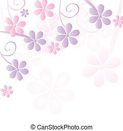 vektor, blomma, bakgrund, romantisk