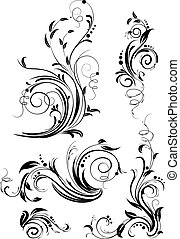 vektor, blommig, set formge, elements.